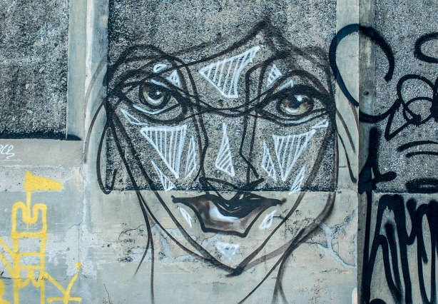 Black line anser face on grey concrete wall.  Some white horizontal lines on nose, cheeks and forehead.