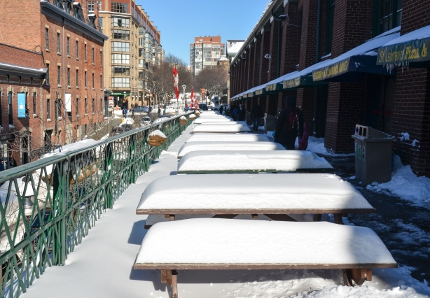 upper level outdoor eating area - picnic tables covered in snow!