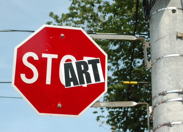 A stop sign that was altered to say start