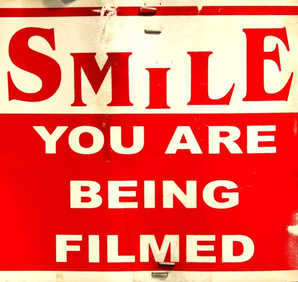 Smile, you are being filmed!  Seen at the St. Lawrence Market