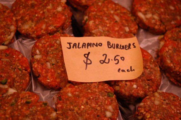 burger patties for sale, label says jalapeno burgers $2.50 each
