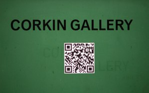 Corkin Gallery sign on green door