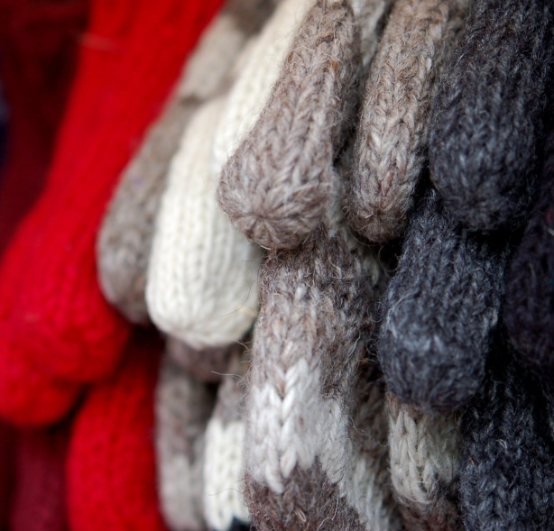 more woolly mitts.  Grey mitts, white mitts and red mitts.