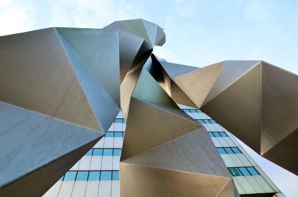 looking upwards towards the top of the , Triad sculpture