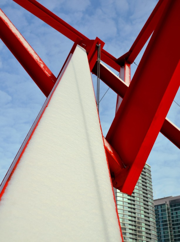red beams of the Flower Power sculpture