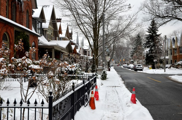 houses on Pape Ave in the snow