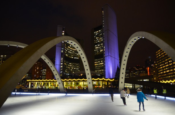 Skating at Nathan Phillips Square, evening