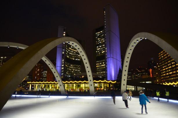 Skating at Nathan Phillips Square, evening