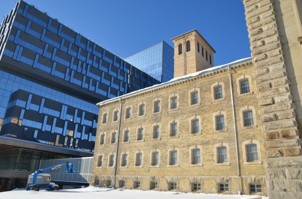 old Don Jail with new Bridgepoint hospital behind.