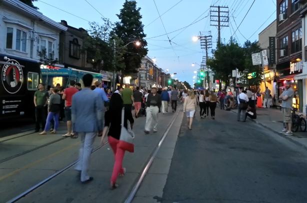 late evening street scene