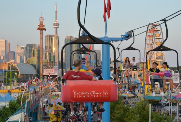 A view from the Sky Ride.  Downtown Toronto with the CN tower is in the background.  Midway rides and games can be seen.
