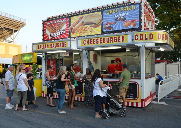 A fast food stand at the Ex, selling cheeseburgers, sausages, deep fried Mars bars, and other unhealthy food!