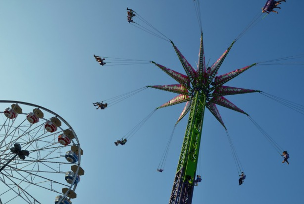 two of the midway rides - the swings and a ferris wheel