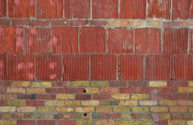 part of an old wall showing the brick details.