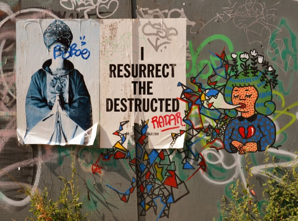 I resurrect the destructed poster with a few tags added accompanied by a girl with a broken heart.