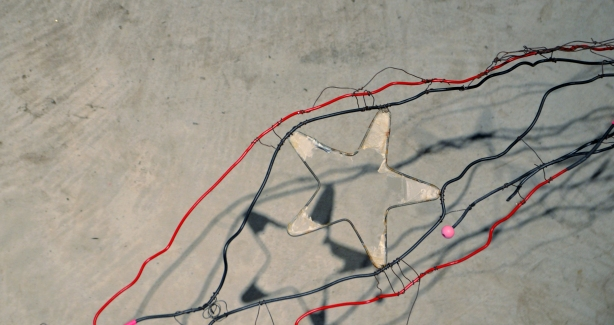 part of a wire sculpture including a star