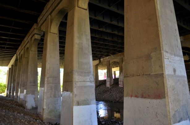 concrete supports, part of the bridge over the Don River