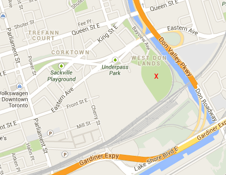 A map, screenshot from google maps, of West Don Lands and vicinity.