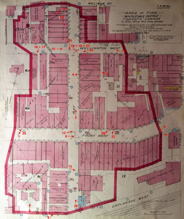 street map of downtown Toronto showing the buildings that were affected by the fire of 1904.