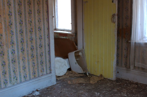 An old toilet lies on its side in the doorway of an abandoned farm house.