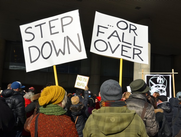 Protesters at a rally, from behind.  Two people are holding signs.  One sign says Step Down and the the other sign says Or Fall Over