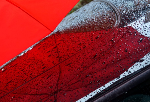 A close up photo of the red umbrella's reflection on the roof of a black car.  There are lots of rain drops on the roof as well.