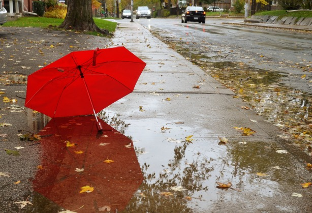 A red umbrella is lying on a wet sidewalk beside a large puddle.  There are lots of leaves on the sidewalk as well.