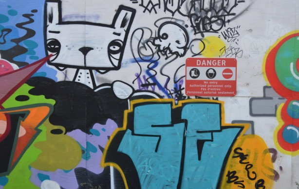 parts of a couple of pieces of graffiti. Multicoloured. Also in the picture is a black and white cat's head.