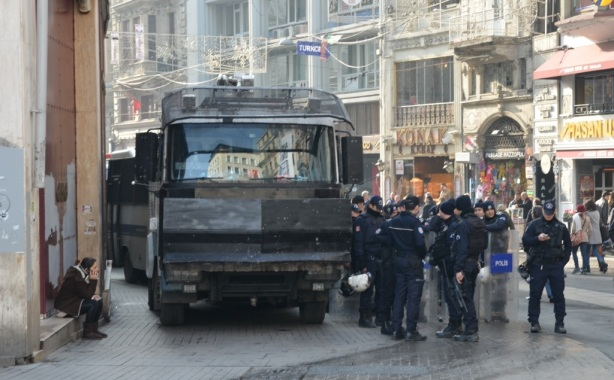 police in riot assembling on one of the side streets in Istanbul close to Taksim Square