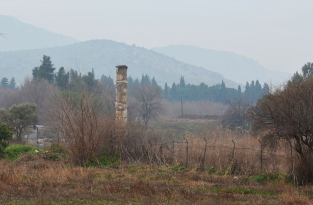 A field, a few trees, some mist and low cloud.  In the field is one single old stone column about 4 or 5 metres tall.