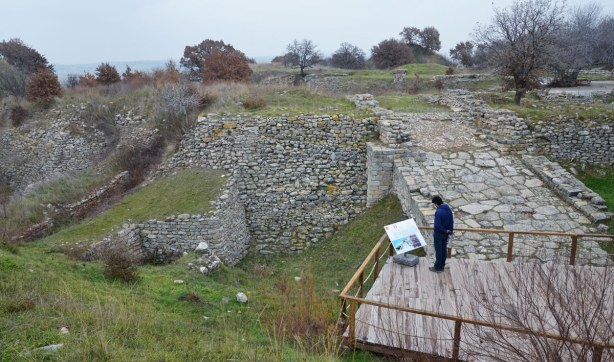 Some of the ruins that have been excavated at the site of Troy in Turkey.