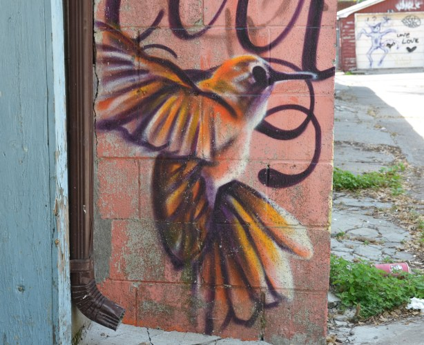 painted graffiti of a hummingbird that looks like it is coming into land, hovering near vertical
