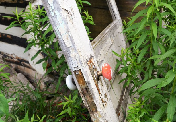 An old door, once painted white but now with peeling paint, lies at an angle in front of the doorway.  The door is off its hinges.  The door has one red doorknob and one white doorknob.