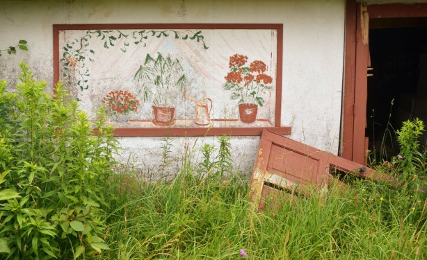 Part of the front of an abandoned house.  A door has come off its hinges and is lying on its side on the ground.  The wall is a painted board structure that was used to cover the sections between the cement block foundations.  On it was painted a window frame and in that window frame a few potted plants were painted.