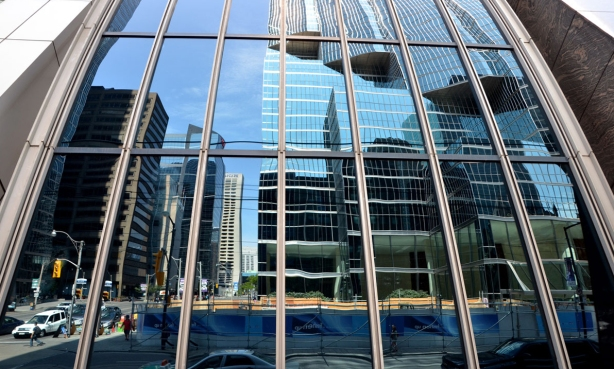 More downtown reflections of tall buildings.
