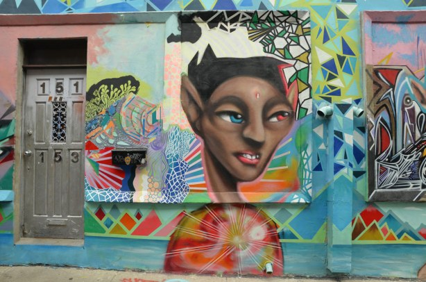 Colourful graffiti in a Kensington lane