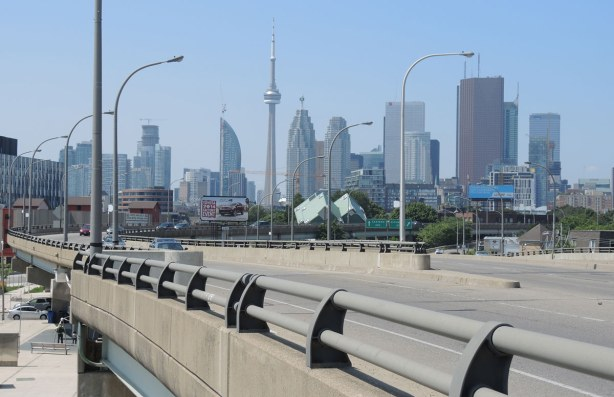 The CN Tower and the Toronto skyline as seen from the east part of downtown Toronto.