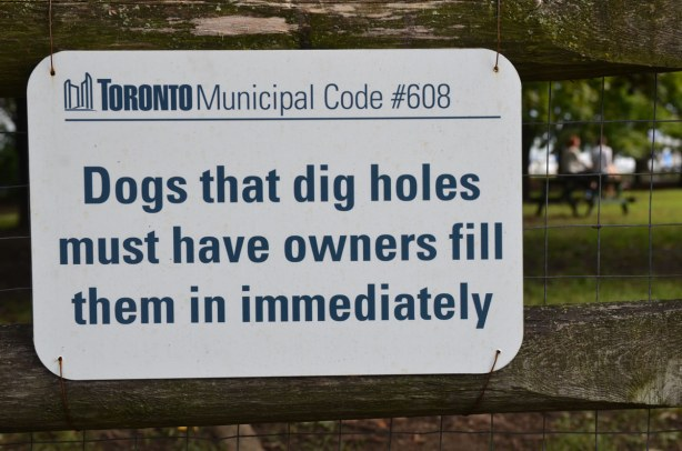 Sign on a wood fence by a park that says, Dogs that dig holes must have owners fill them in immediately.