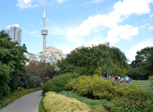 A path leads through a garden, there is a group of people sitting in the park.  The CN Tower is in the distance.