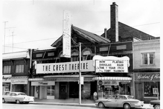 old photo of the Crest Theatre from the late 60's or early 70's.