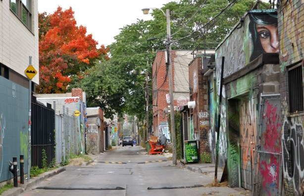 looking down an alley with old garages on either side.  A tree with orange and red leaves is in the picture too.