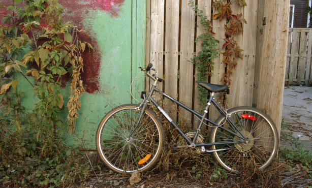A bicycle is leaning against a wood fence and a green wall.