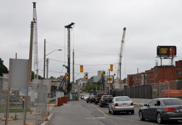 Near Eglinton West subway station.  Construction of the Eglinton LRT impacts traffic on Eglinton Ave.