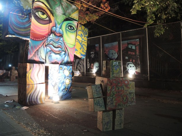 cardboard box robots in the alley, manifesto for nuit blanche
