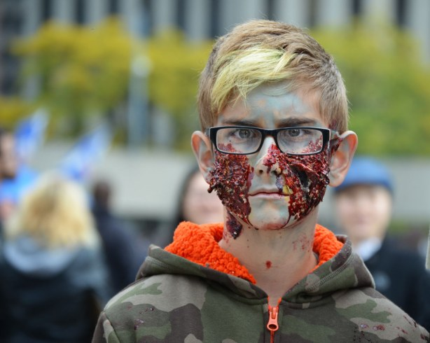 zombie boy who is staring straight ahead