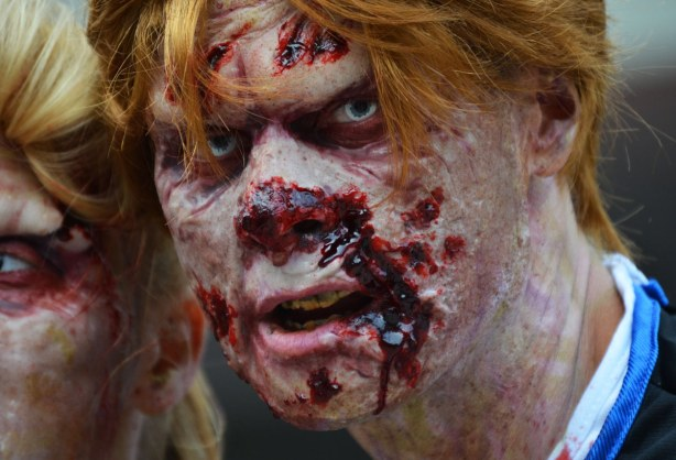 zombie from Toronto zombie walk - auburn wig and very bloody face, man