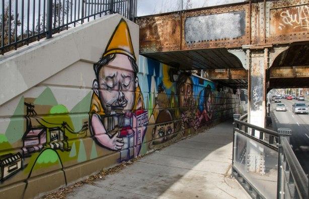 mural under a bridge