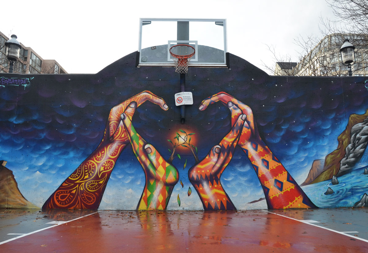 Murals in the park as i walk toronto for Basketball court mural
