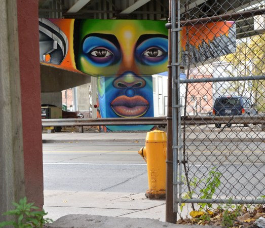 Paintings on the large T shaped concrete supports of the overpass,  a large multicoloured woman's face is on the concrete support that is across the street.  A chain link ffence and yellow fire hydrant are in the foreground.