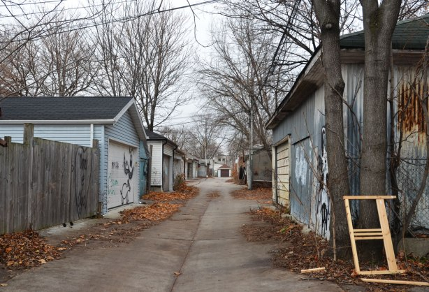 an alley with garages on both sides, also tall trees that have lost their leaves, small piles of dead leaves along the sides of the alley.